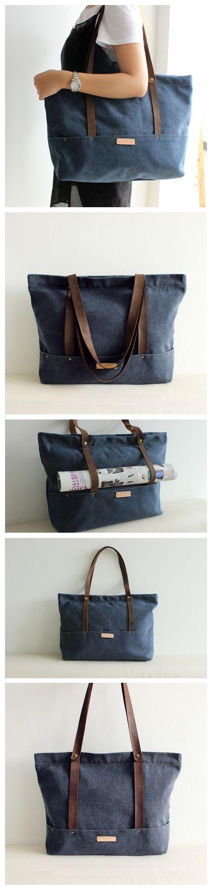 Handcrafted Waxed Canvas Tote Bag Diaper Bag Women's Fashion Handbag Shoulder Bag