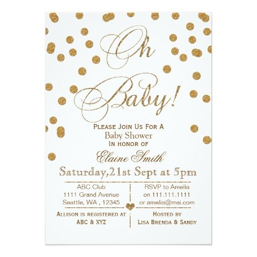 Glitter White And Gold Baby Shower