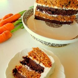 Two powerful forces combine to make one of the most amazing cakes imaginable: Brownie Carrot Layer Cake!