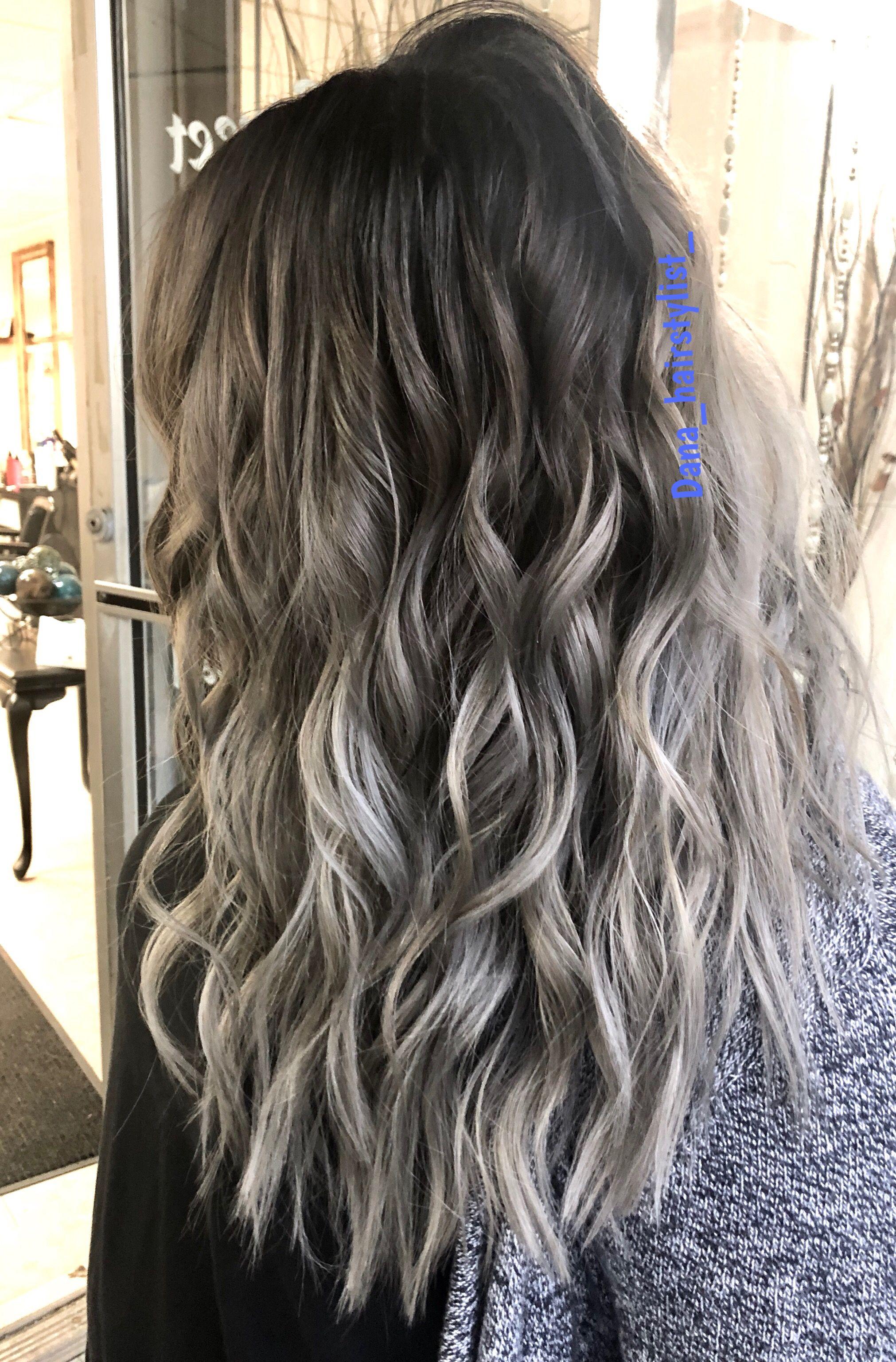 Grey Silver Hair Beach Waves Color Melt Silver Grey Hair Grey Ombre Hair Beach Wave Hair