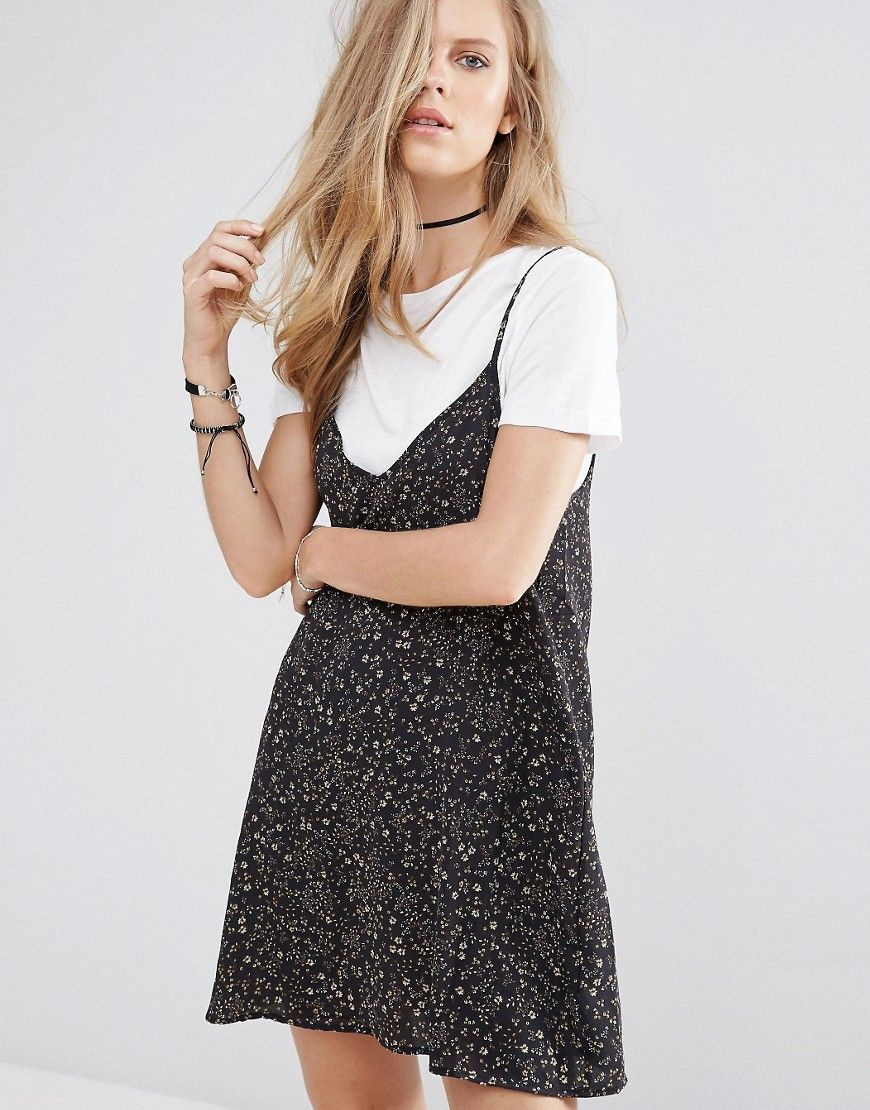 d07a2f003c30 Pull&Bear 2 In 1 Floral Print Cami Slip Dress - Black. Dress by Pull Bear,  Stretch woven fabric, Crew neck, Short sleeves, Slip dress overlay, Cami  straps, ...