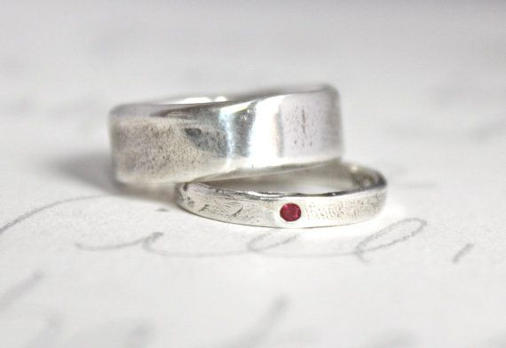 Ruby Wedding Band Engagement Ring Set . Wide Recycled Silver Bohemian  Wedding Ring Set . Thoreau