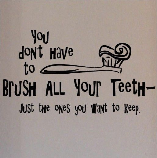 Visit our Etsy shop for more quotes and decals!  vinyllettering.etsy.com  You dont have to brush all your teeth- just the ones you want to keep     vinyl lettering wall words decal sticker   12.5x25 via Etsy