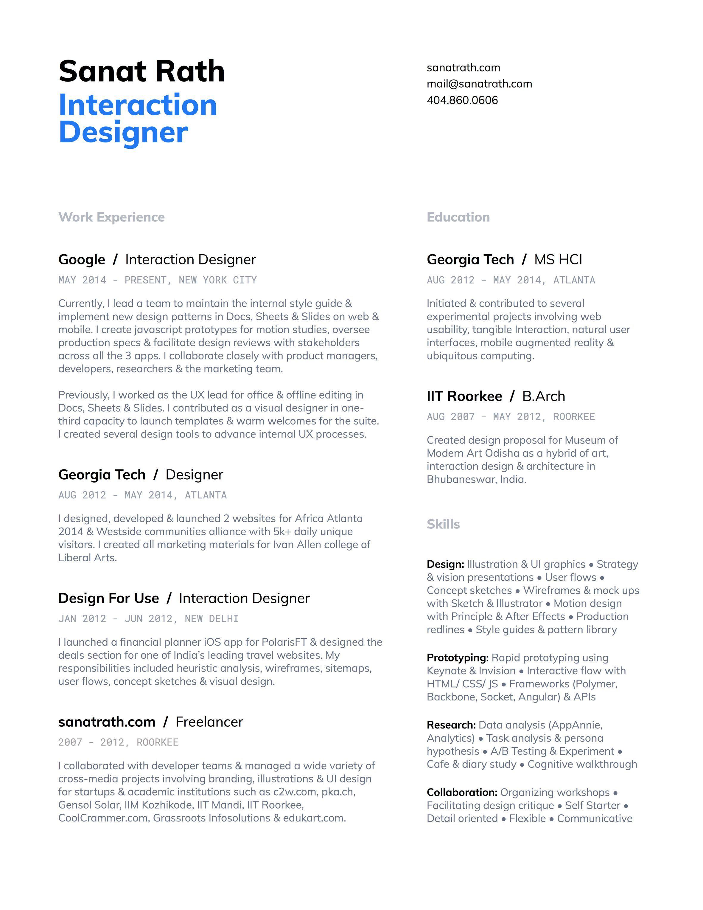 Bestfolios Sanat Rath Resume Design Ux Design Portfolio Ux Design