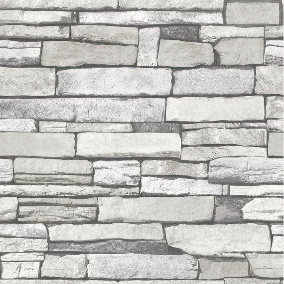 Natural Stacked Stone Grey Brick Vinyl Self By