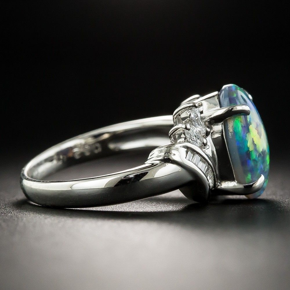 Black Opal Platinum Diamond Ring Antique & Vintage
