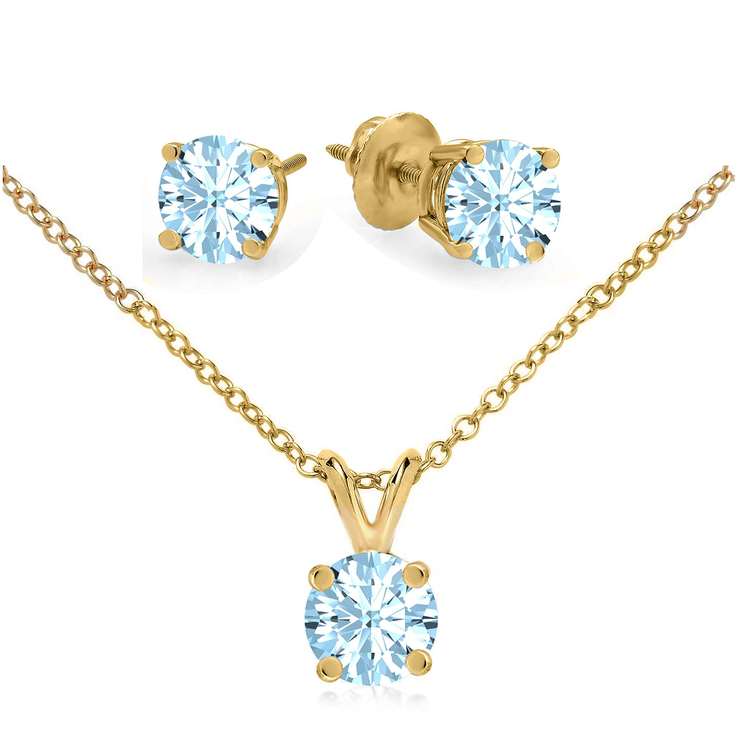 Pretty jewellery aquamarine pendant u earrings necklace set in k
