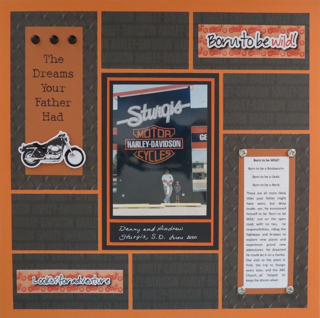 Scrapbook ideas no pictures - Fabulous Harley Davidson Inspired Page Perfect For A Father S Day Scrapbook Layout