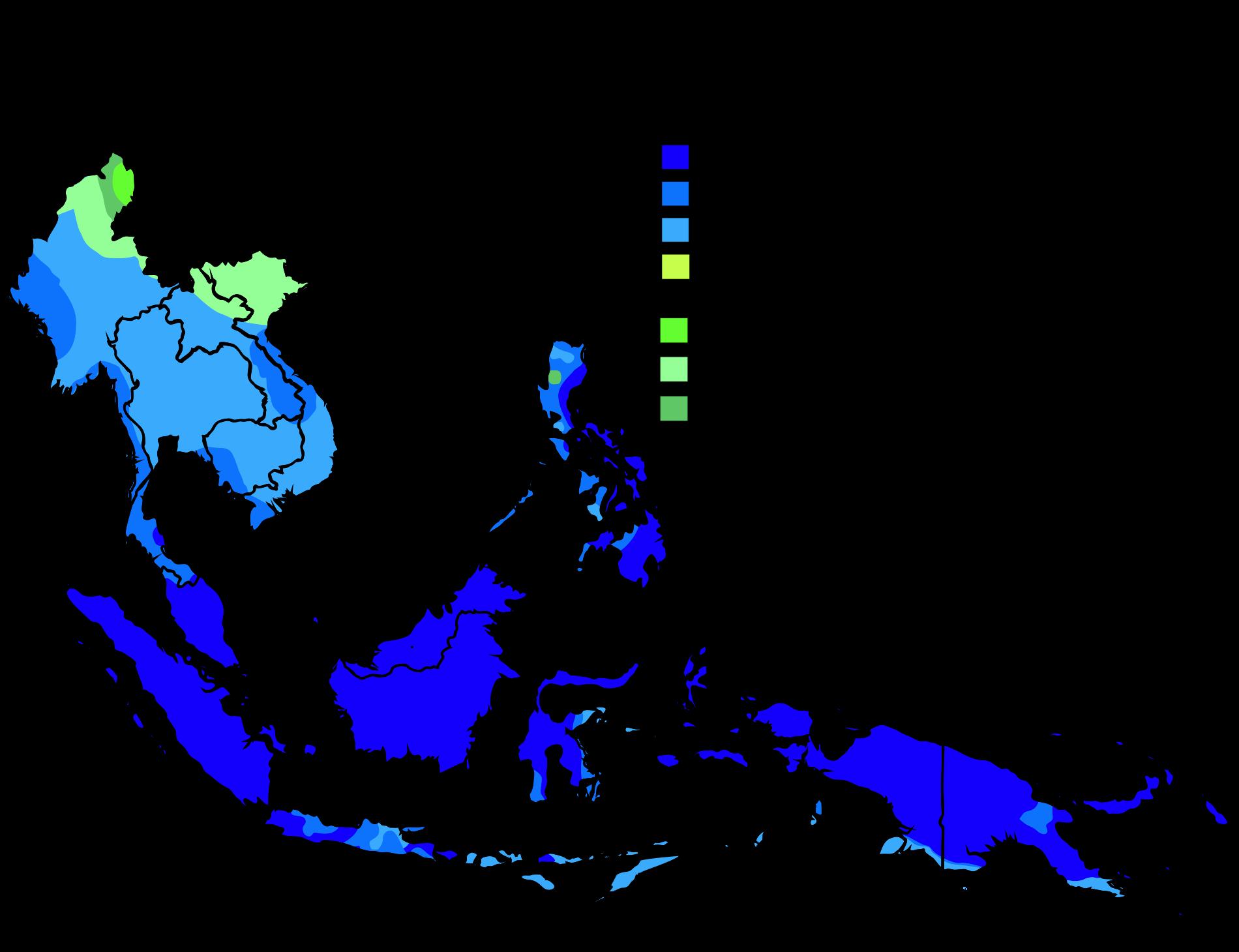 Southeast Asia map of Köppen climate classification Asia