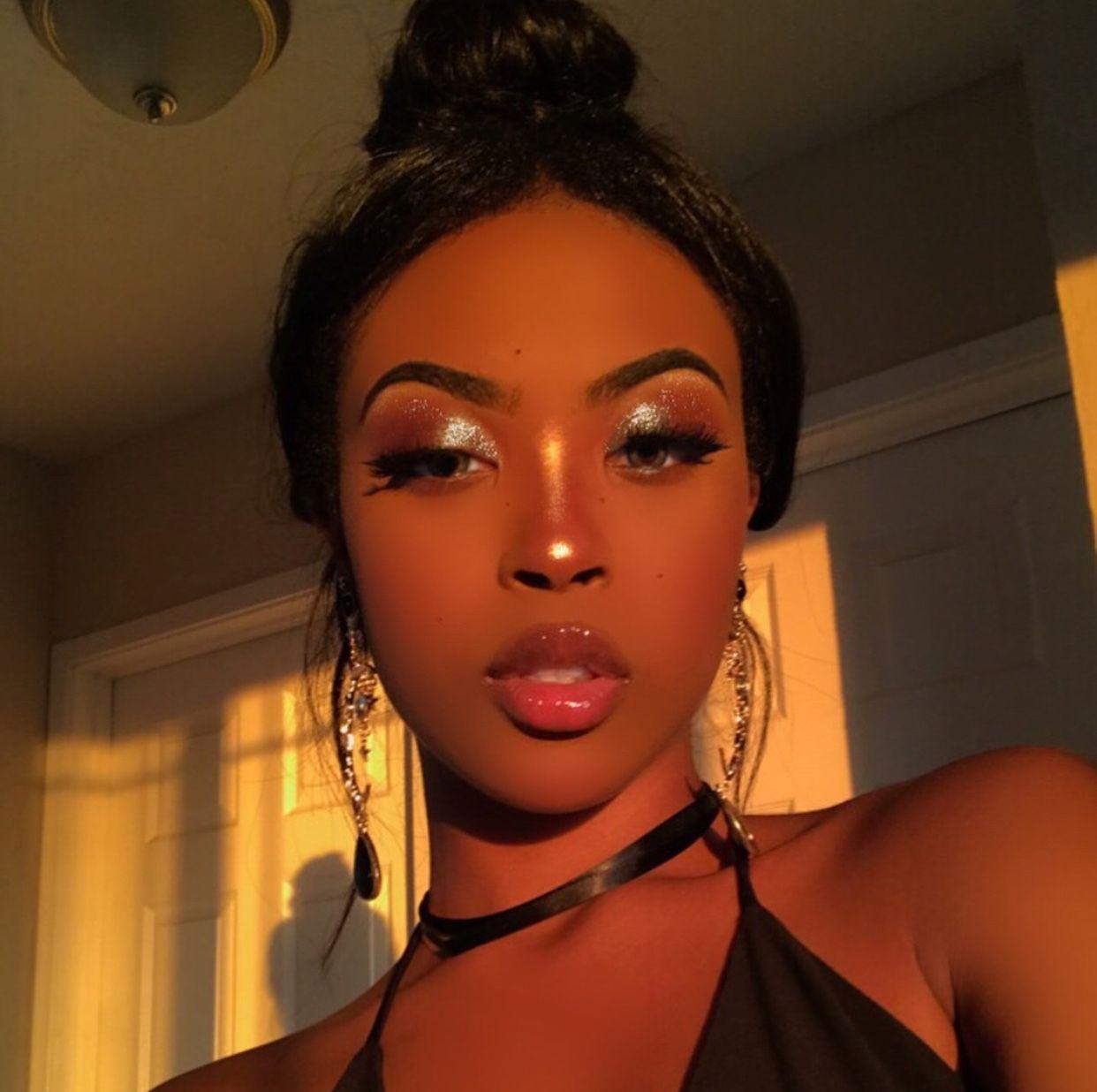 Natural Makeup Look Brown Skin Woman Of Color Glossy Lips Pin