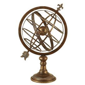 "Brass-finished metal armillary decor.        Product: Armillary decor   Construction Material: Metal  Color: Antique brass  Features: Traditional silhouette     Dimensions: 25"" H x 13"" Diameter"