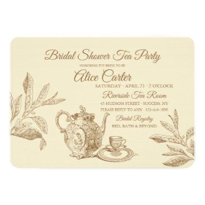 Vintage Tea Invitation wedding invitations cards custom invitation