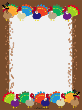 free printable thanksgiving border  Colorful, festive turkeys fans their feathers against a brown ...