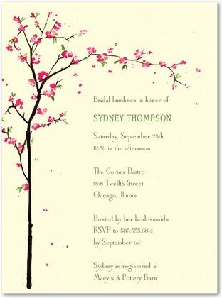 signature ecru bridal shower invitations cherry showers front emerald