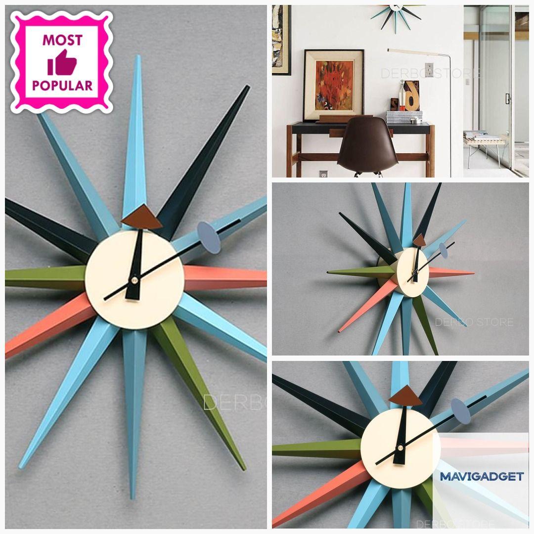 Modern Design Starburst Shape Wall Clock #homedecortips #homegood #decorationideas #homedecor #luxuryhomedecor #decorationidea #luxurydecors #homedecorlover #homestuff #decorationhome