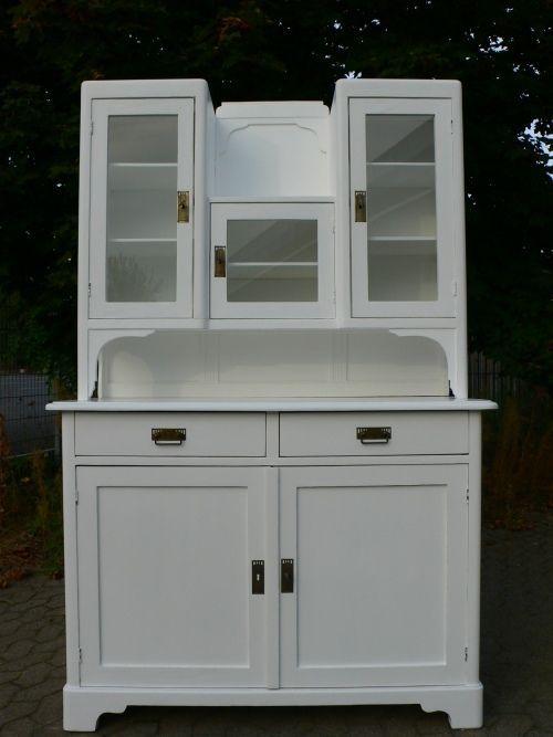 Buffet Jugendstil antik Küchenschrank weiß Landhaus Stil um 1900 ...