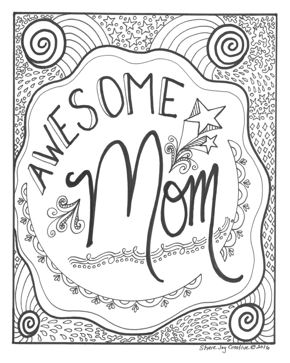 Awesome Mom Coloring Page Printable Coloring Page Etsy Mom Coloring Pages Mothers Day Coloring Pages Quote Coloring Pages