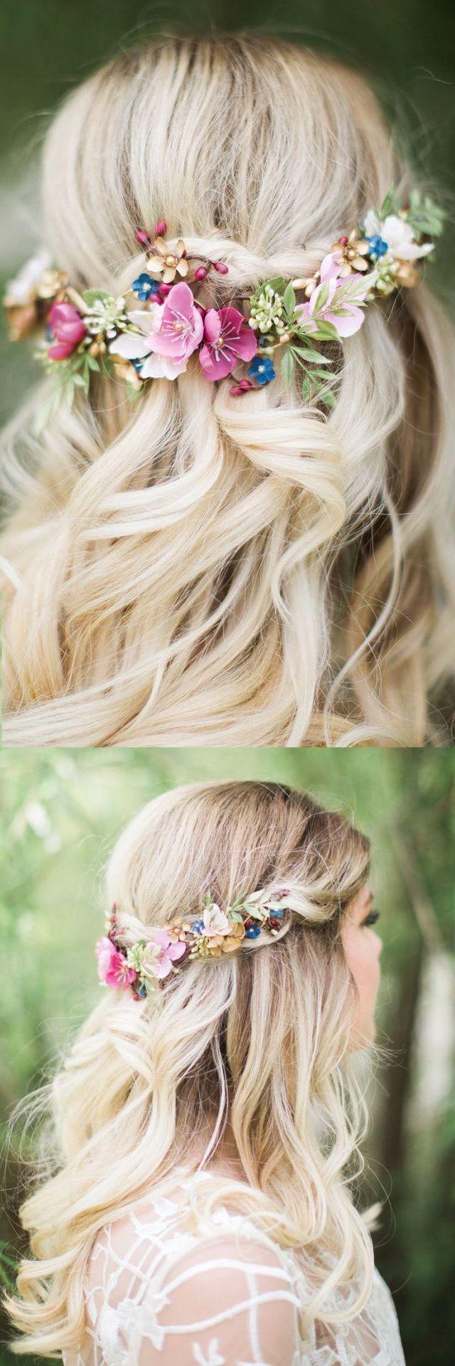 Frühlings-Sommer-Hochzeits-Brautfascinator. Blumen Kopfbedeckung in pink blau grün ... #blumen #brautfascinator #fruhlings #hochzeits #kopfbedeckung #sommer #frühlingblumen