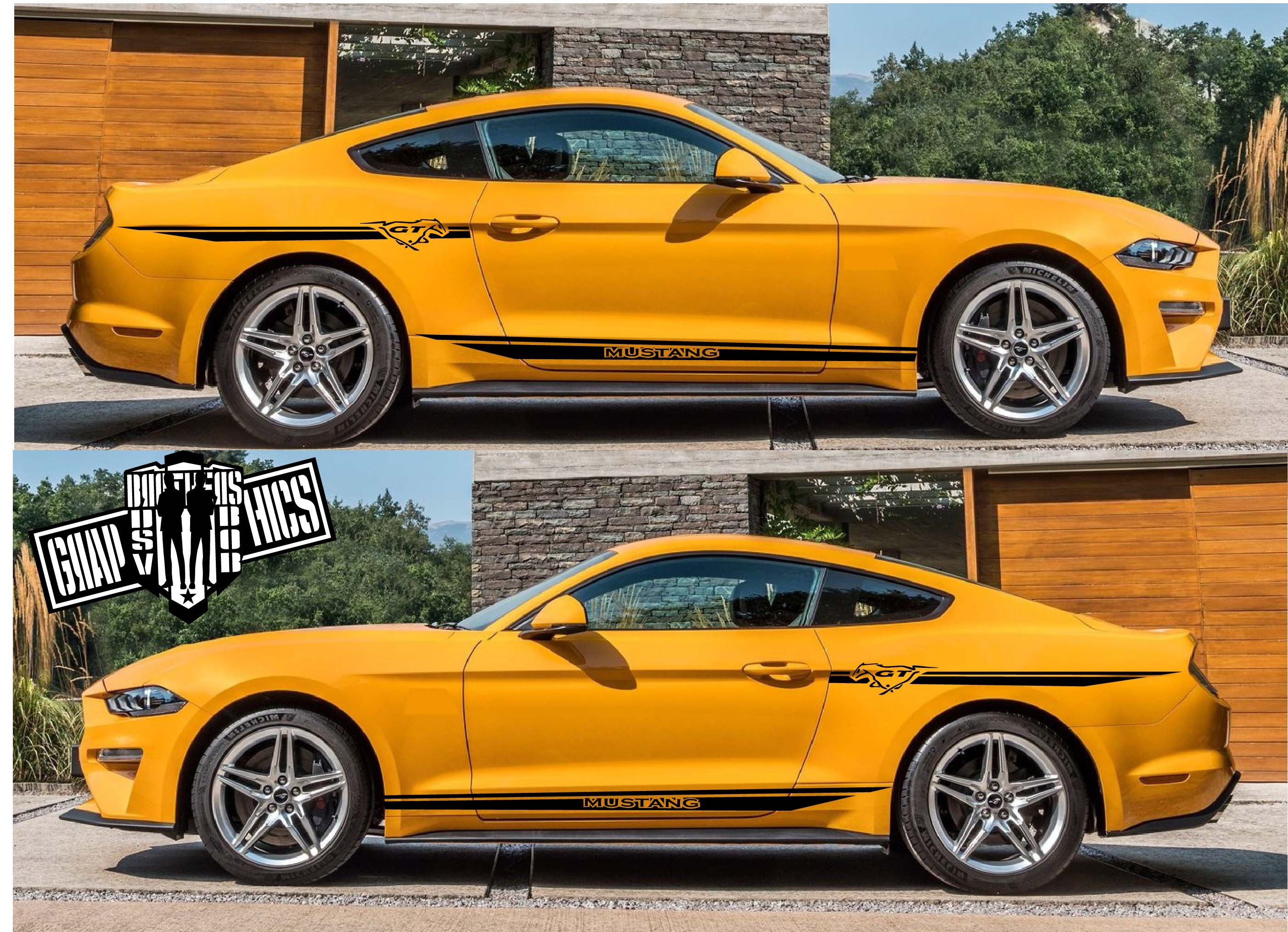 4x Decal Sticker Vinyl Side Racing Stripes Compatible With Ford