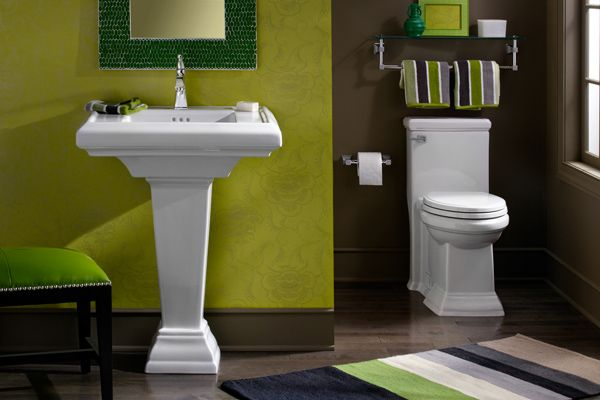 Pedestal Sink And Matching Toilet With Images Brown Bathroom