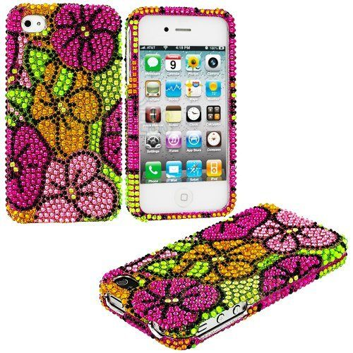 myLife (TM) Colorful Tropical Flowers - Rhinestone Series (2 Piece Snap On) Hardshell Plates Case for the iPhone 4/4S (4G) 4th Generation Touch Phone (Clip Fitted Front and Back Solid Cover Case + Rubberized Tough Armor Skin + Lifetime Warranty + Sealed I