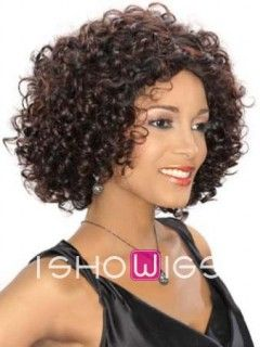 This fabulous wig is made from remy human hair with cute small strawberry curls all over. The lace front cap construction makes it look naturally along the hairline.