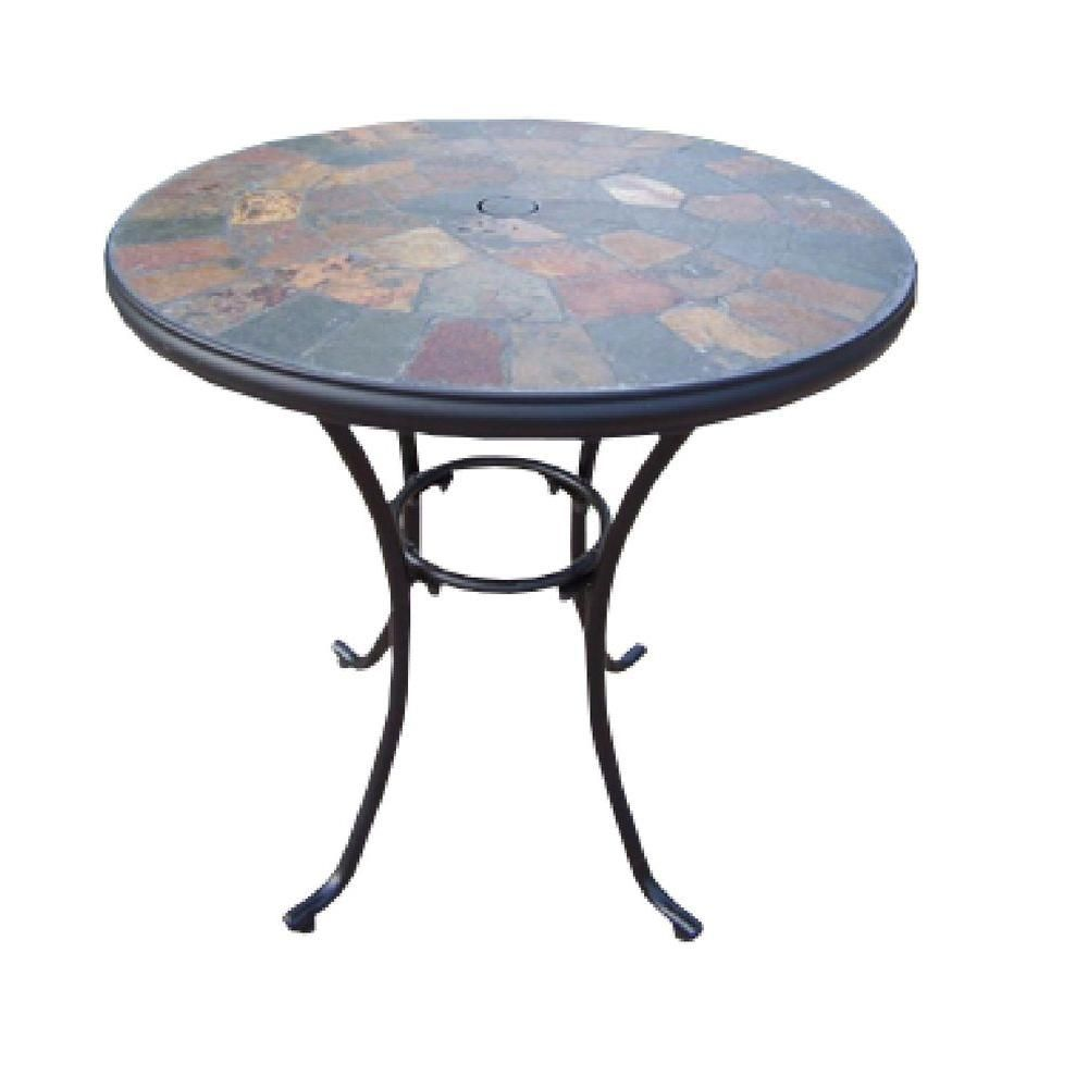 Oakland Living Stone Art 26 In Patio Bistro Table 77103 Cf The Home Depot Bistro Table Outdoor Patio Furniture Sets Resin Patio Furniture