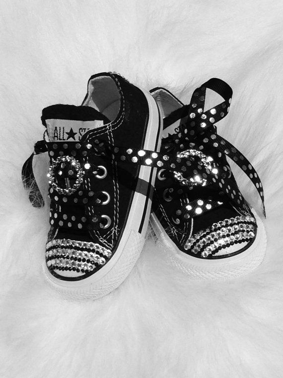 884441947b6f Baby infant Converse 5 Swarovski Crystals Bling SHOES All Star Converse  Pageant Perfect on sale now great shower gift on Etsy