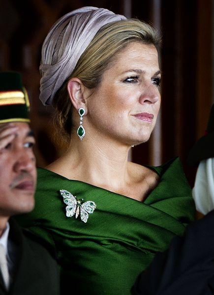Máxima draagt hier een #broche in de vorm van een #vlinder.