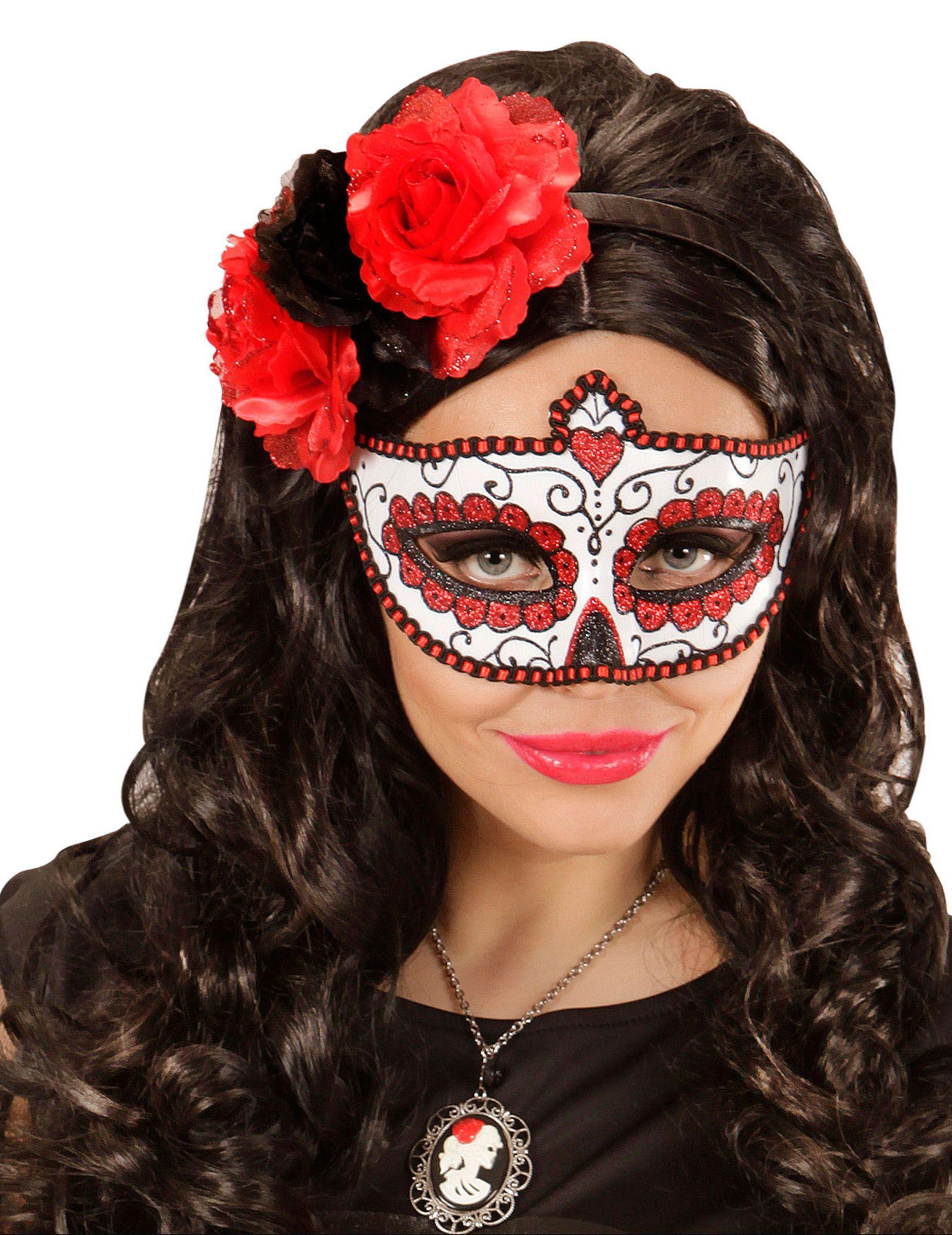 Zimmer im mexikanischen stil glitzer augenmaske rot  dìa de los muertos  tag der toten masken