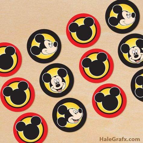 Free Printable Mickey Mouse Cupcake Toppers Mickey Mouse Cupcakes Free Mickey Mouse Printables Mickey Mouse First Birthday