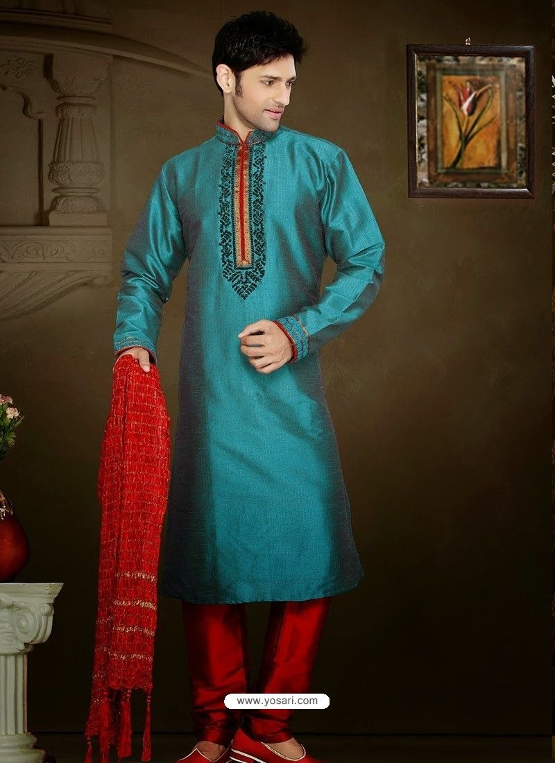 Traditional Teal Blue Art Silk Kurta Pajama | Blue art and Teal blue