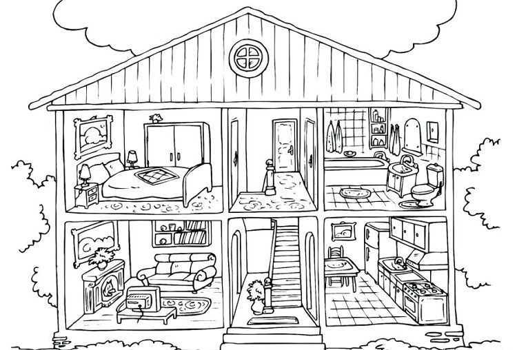 Barbie Dreamhouse Coloring Pages In 2020 House Colouring Pages Free Coloring Pages Coloring Pages