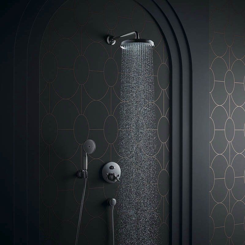 Bring the spirit and design of the Golden Twenties into your bathroom. AXOR Carlton is the manifestation of that feeling of wealth. The classic cross handle, hand shower with white porcelain handle. Opulence for water.    #AXOR #design #axordesign #AXORCa