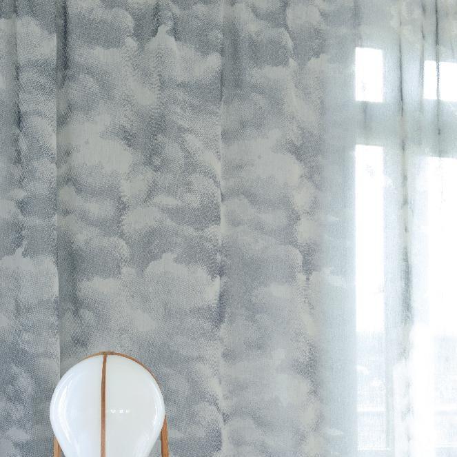 Patterned Sheer Curtain Fabric Pes Trevira Cs Cirrus M1