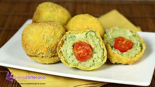 Crocchette di patate e broccoli con cuore di pomodorini