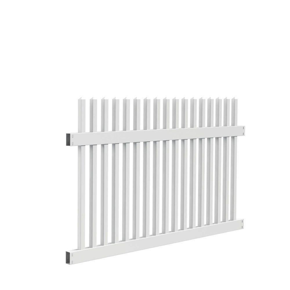 Veranda Ottawa Straight 4 Ft H X 6 Ft W White Vinyl Fence Panel Kit Vinyl Fence Fence Panels Vinyl Fence Panels