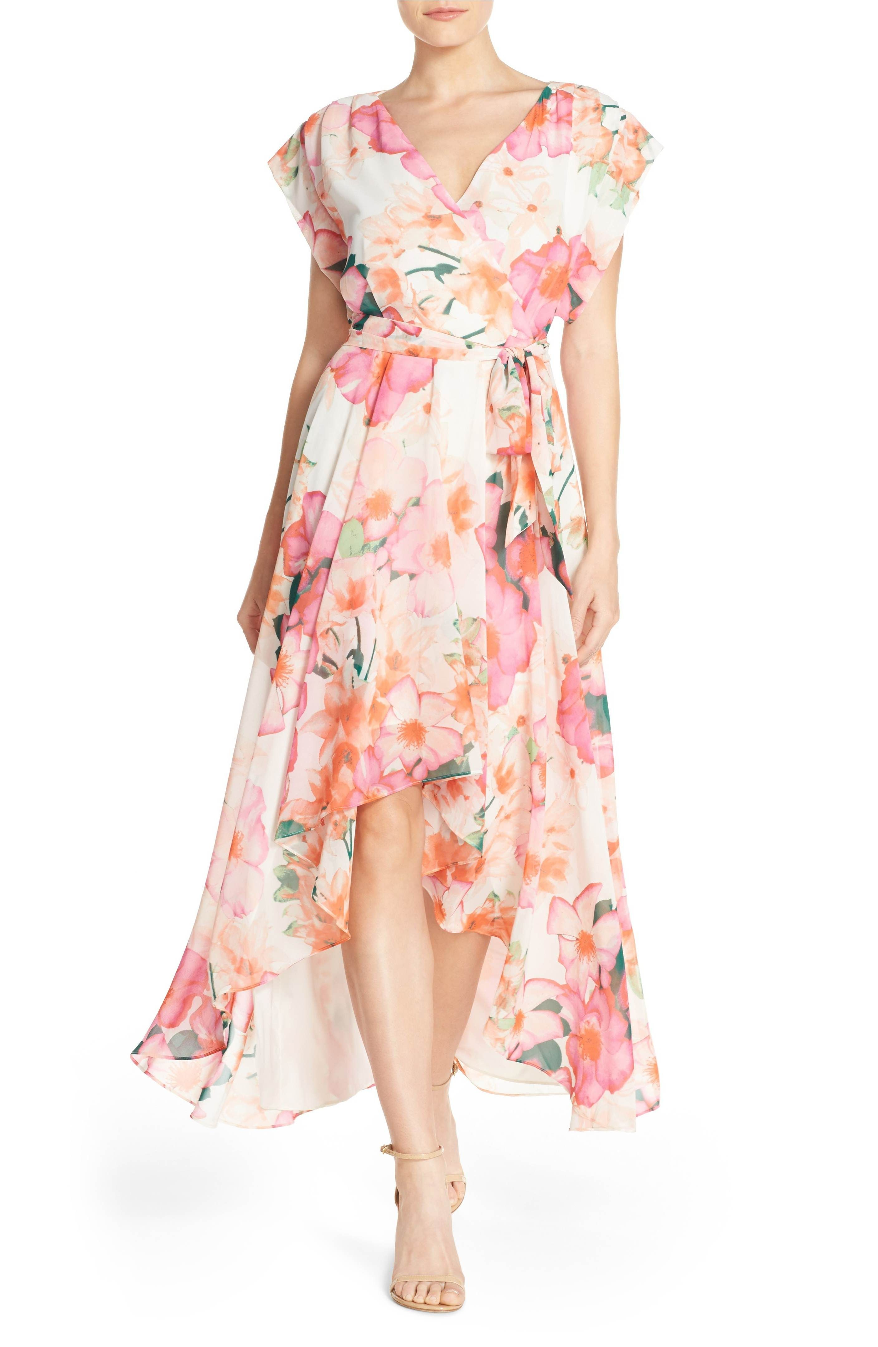 Eliza J Floral Print Gown Regular Petite Nordstrom Beach Wedding Guest Dress Mother Of Groom Dresses Petite Maxi Dress