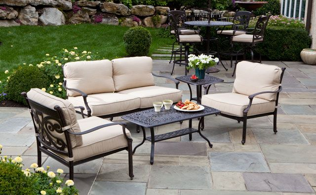 An Metal Sofa Set With White Cushion Seat By Hampton Bay Outdoor Furniture For Patio