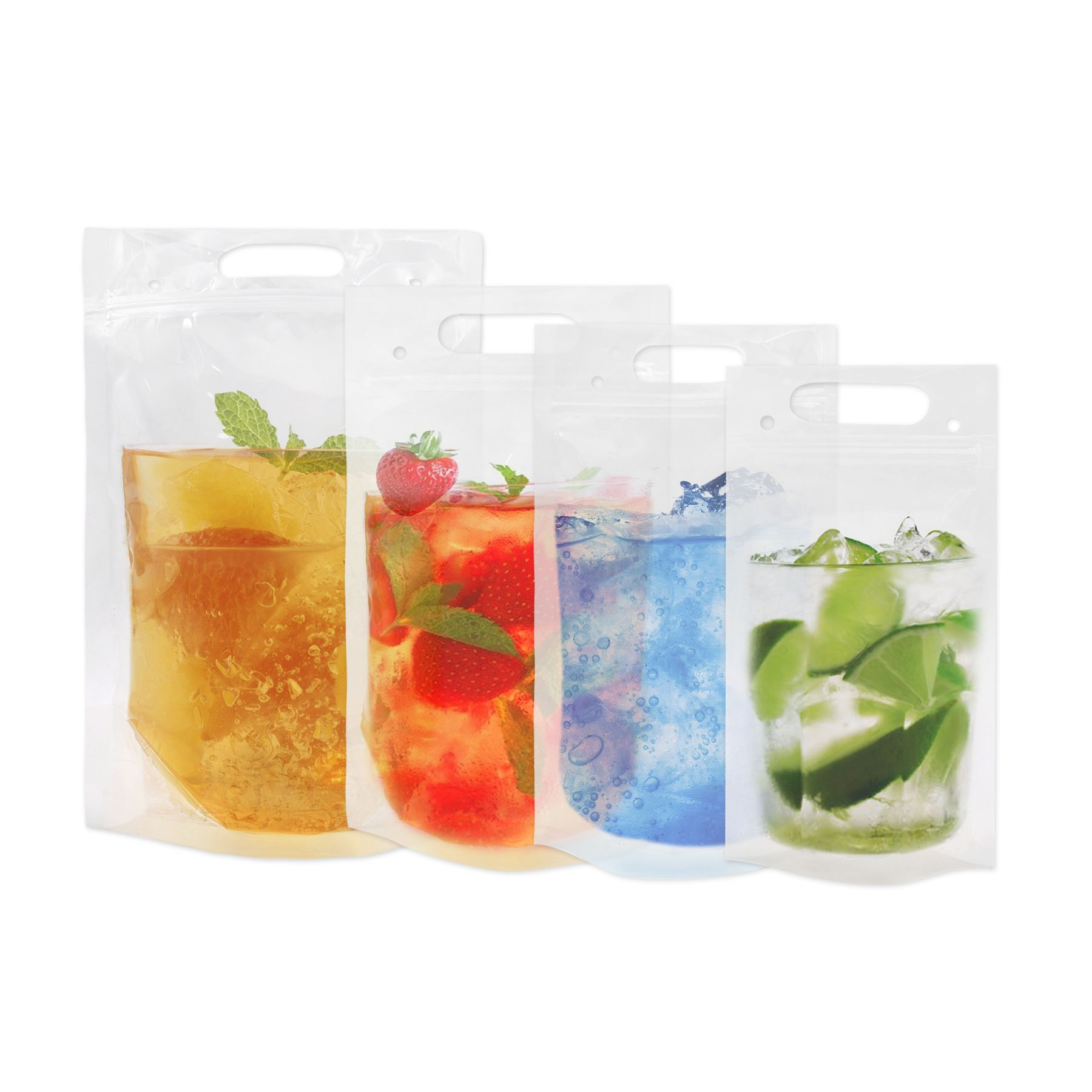 1000 Pcs Aspire 8 Oz Clear Reclosable Zip Stand Up Drink Pouches Bags W Handle Juice Pouches With 3 Bottom Gusset Sale Reviews Frozen Drinks Mojito Pouch
