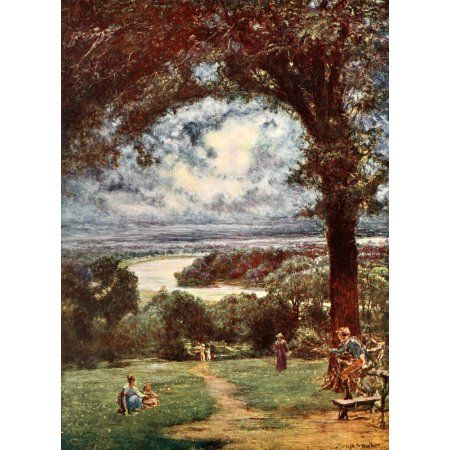 Poets Country 1907 Thames at Richmond Canvas Art - Francis S Walker (18 x 24)