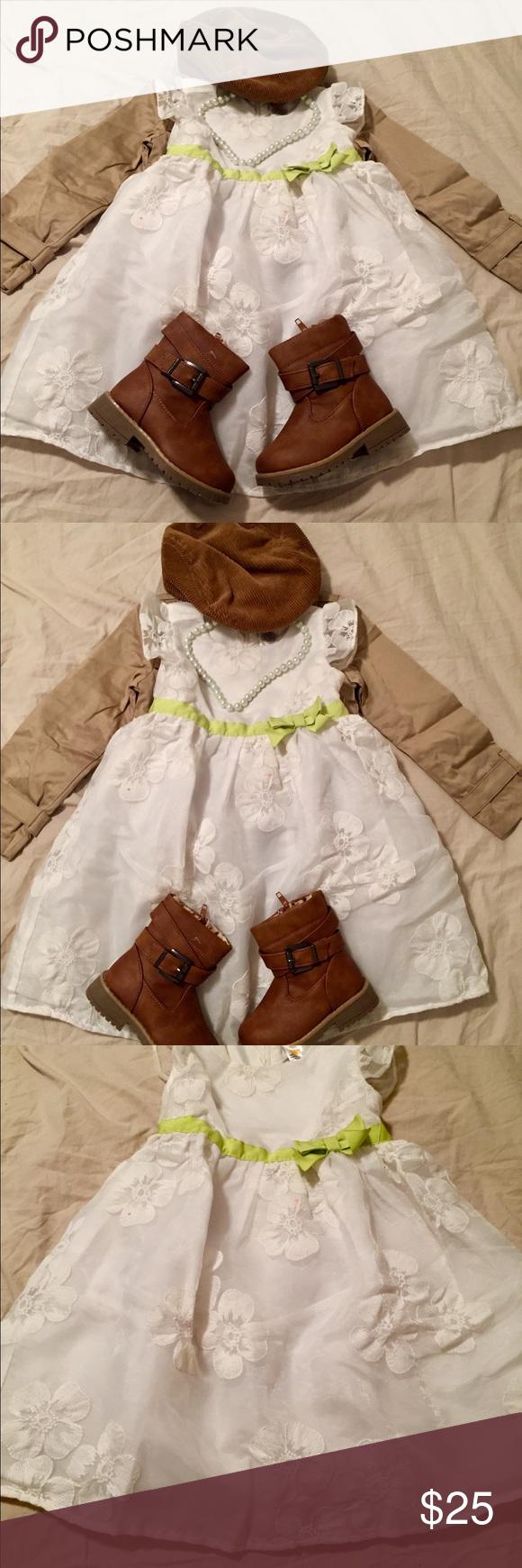 3t Girl Gymboree Formal White Lace Dress W Green Lace White Dress Little Dresses Lace Dress [ 1740 x 580 Pixel ]