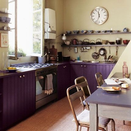 Beautifully Colorful Painted Kitchen Cabinets Kitchen Cabinet Colors Retro Kitchen Purple Kitchen Cabinets