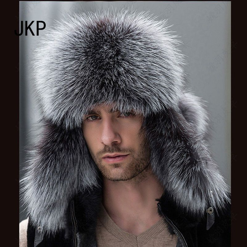 60a55db0c28b5f 2016 Men's Genuine Fox Fur Hats Real Raccoon Fur with Leather Tops 1002