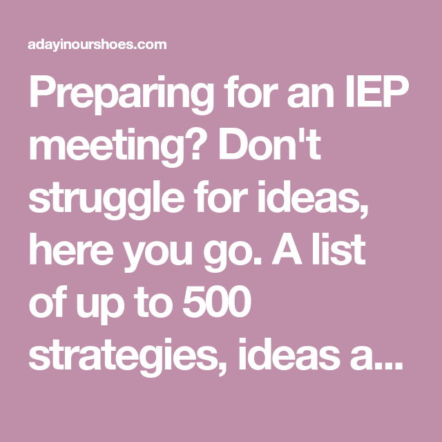 500+ Reasonable Accommodations and Strategies for your IEP ...