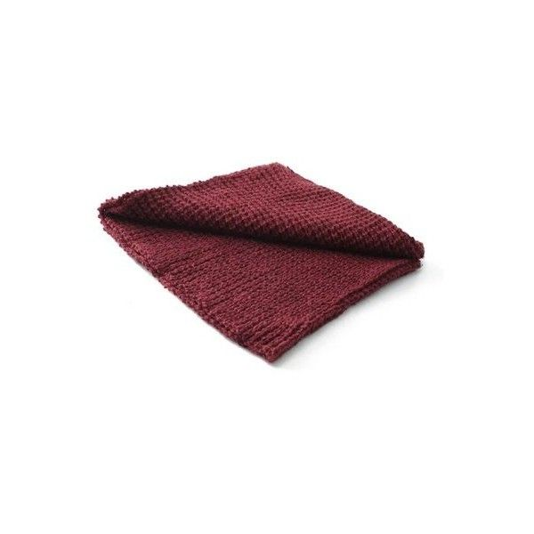SheIn(sheinside) Burgundy Casual Knit Scarve (€13) ❤ liked on Polyvore featuring accessories, scarves, knit shawl and knit scarves