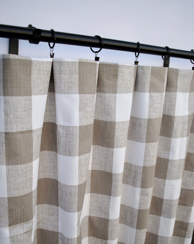 Tan Plaid Curtains Ecru Curtain 2 Curtain Panels Checkered