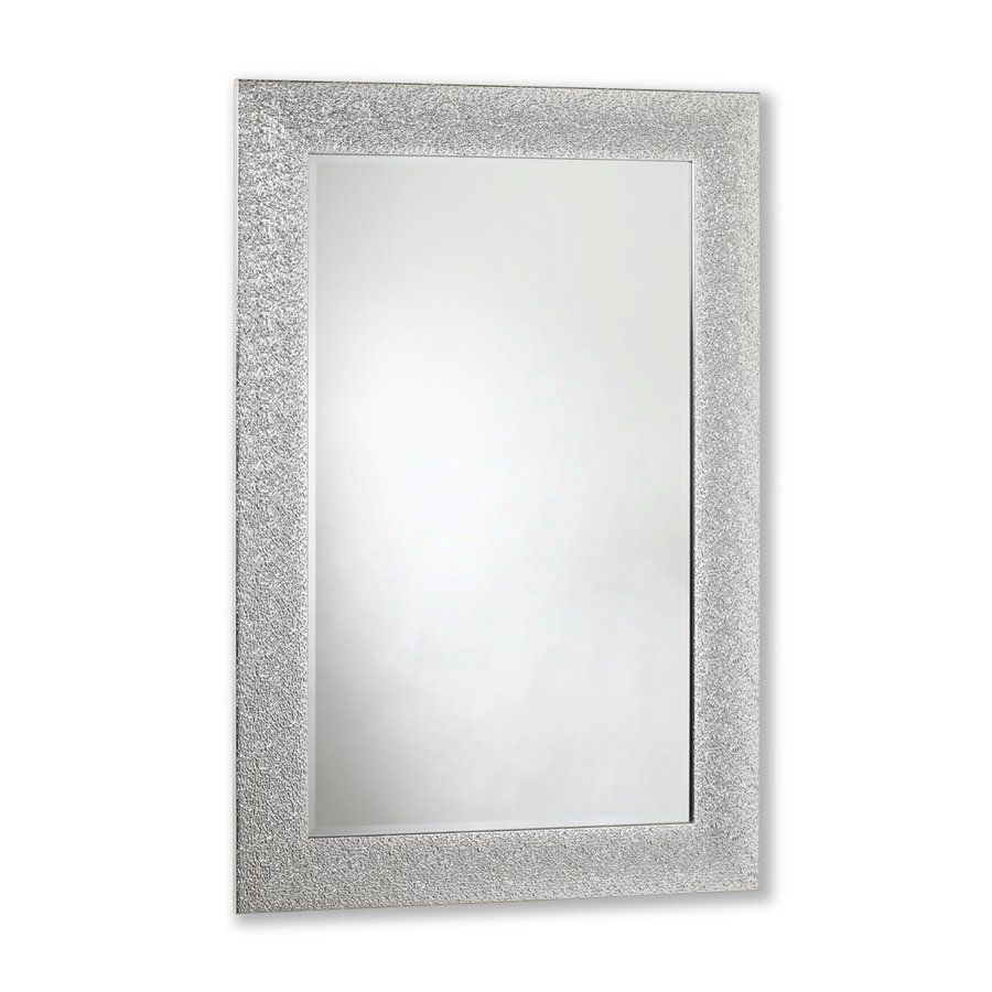 31-in x 43-in Crinkle Gloss Silver Rectangle Framed Mirror | Lowe\'s ...