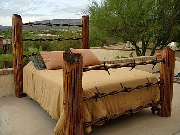 barbed wire fence post bed - Post Bed Frames