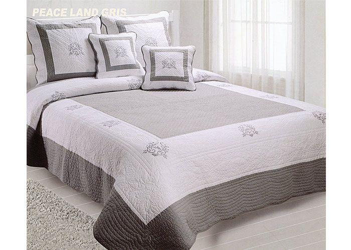 Couvre lit Boutis brodé 230x250 Gris-Blanc PEACELAND gris | Lit ...